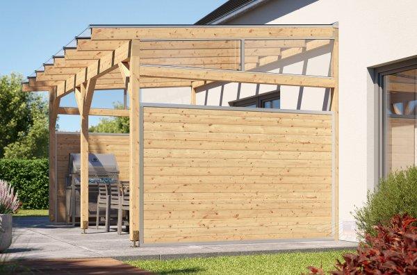 REXOcover Wood Terrassen-Seitenwand 1,80m Höhe