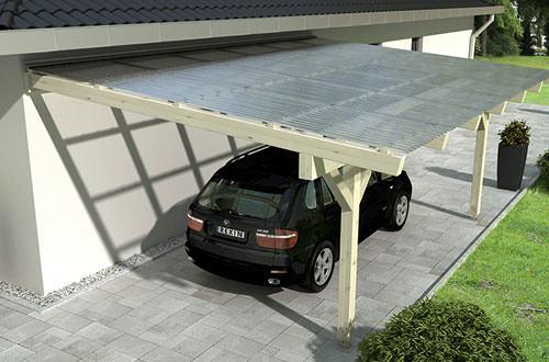 holz carports als einzelcarport mit lichtplatten rexin shop. Black Bedroom Furniture Sets. Home Design Ideas