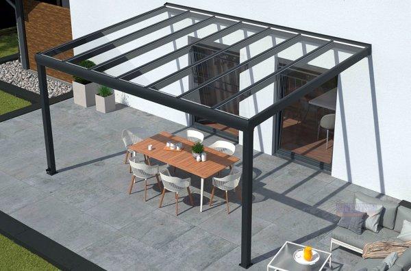 REXOpremium Titan Alu Terrassendach 5m x 2,5m, mit Massivplatten