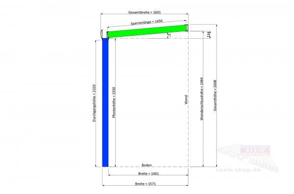 REXOvita VSG Haustür-Vordach: 3,00 x 1,50m, VSG-Glas