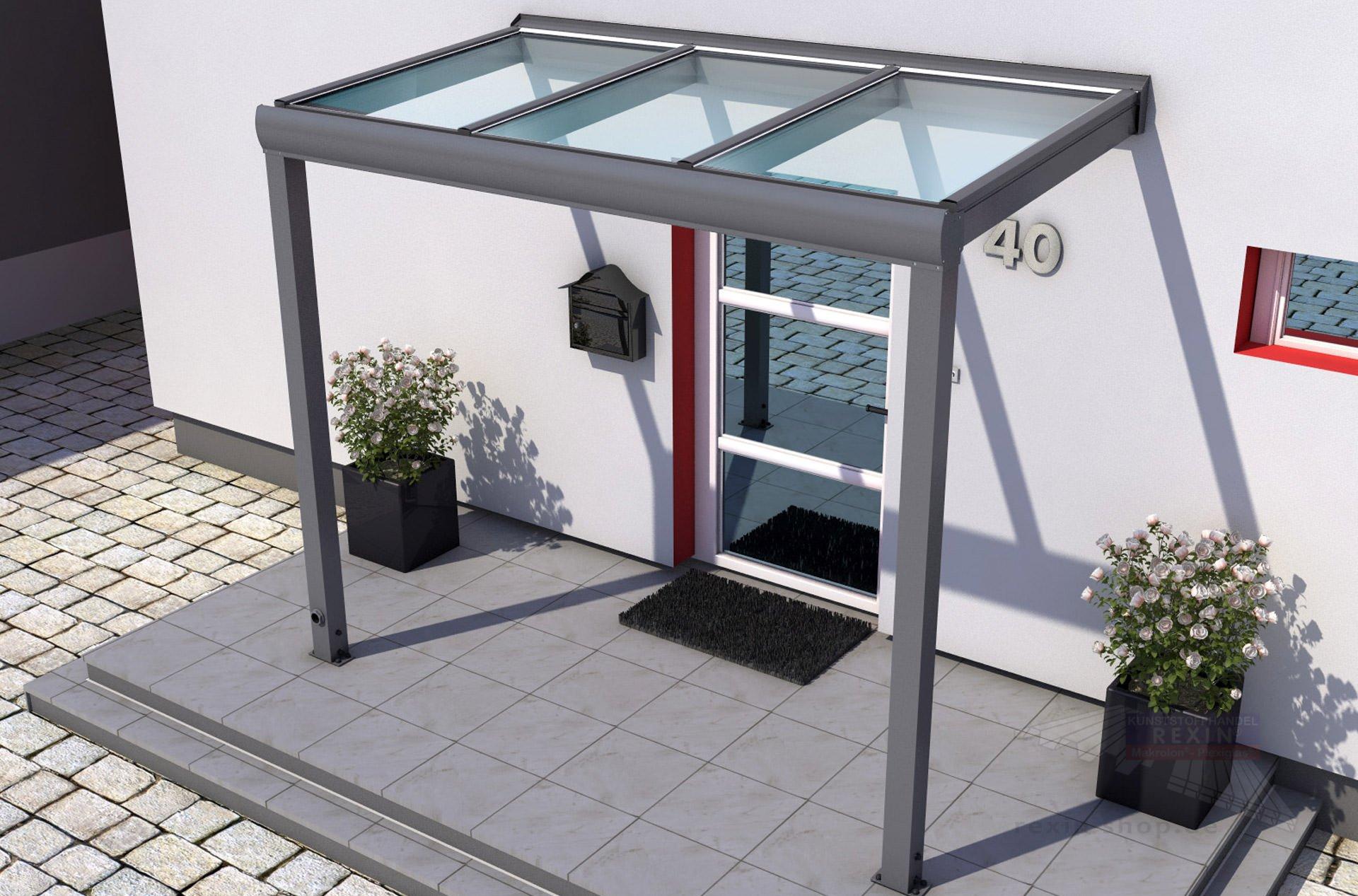 REXOvita VSG Haustür Vordach 3 00 x 1 50m vorbereitet für VSG