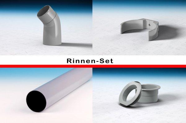 REXOdrop PVC-Rinnen-Set, grau