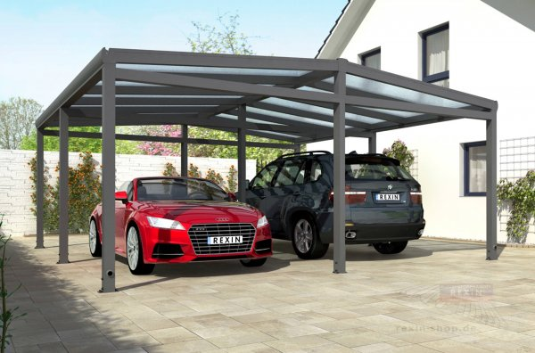 rexoport alu carport bausatz 3 13m x 6 06m rexin shop. Black Bedroom Furniture Sets. Home Design Ideas