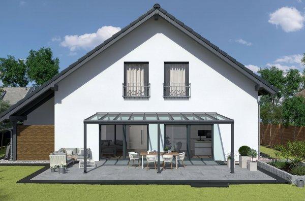 REXOpremium Alu Terrassendach 8m x 2m, VSG-Glas