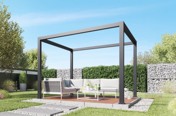 REXOcube Pergola aus Aluminium 3m x 3m