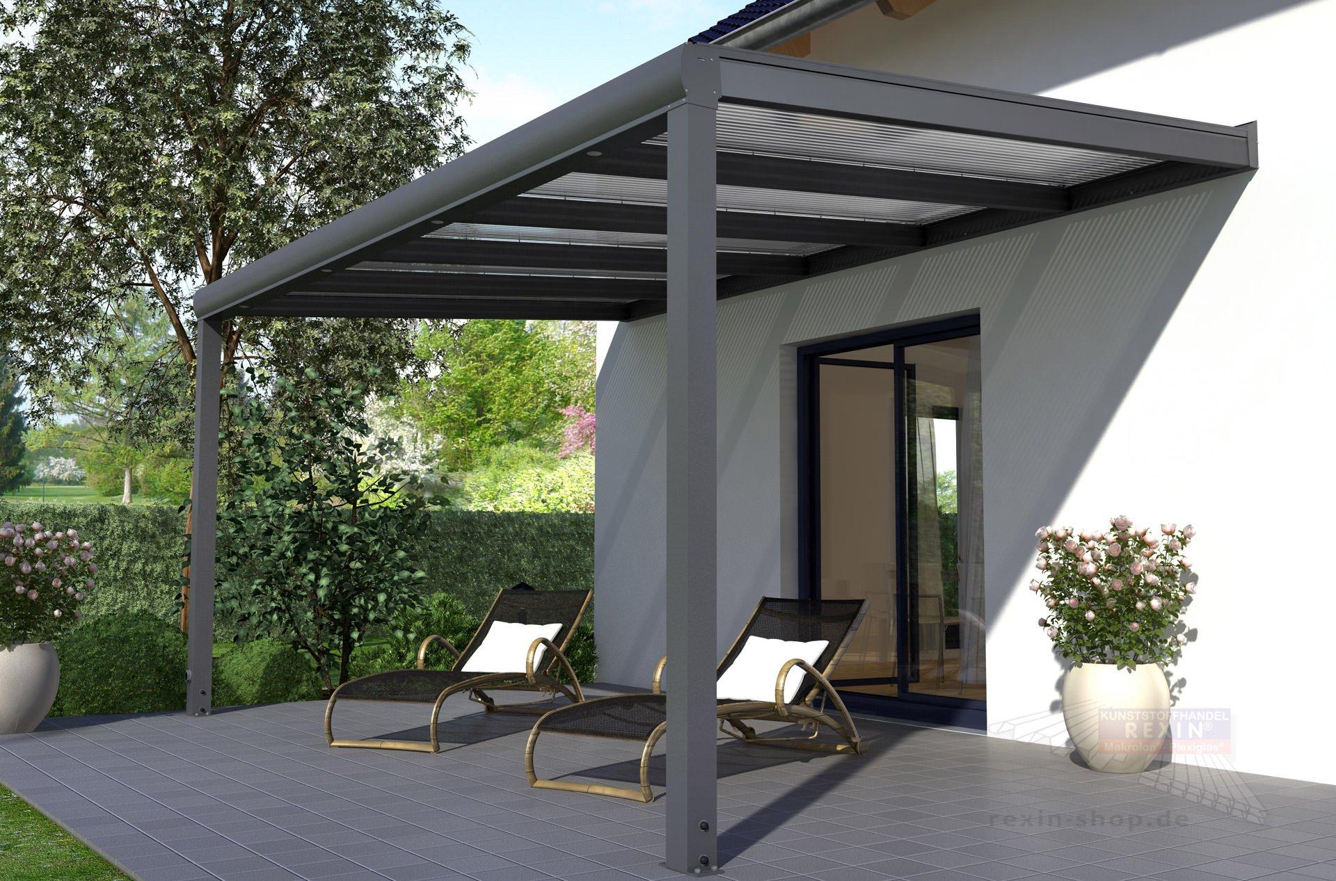 REXOpremium Alu Terrassenüberdachung 6m x 2,5m ▷ Rexin-Shop
