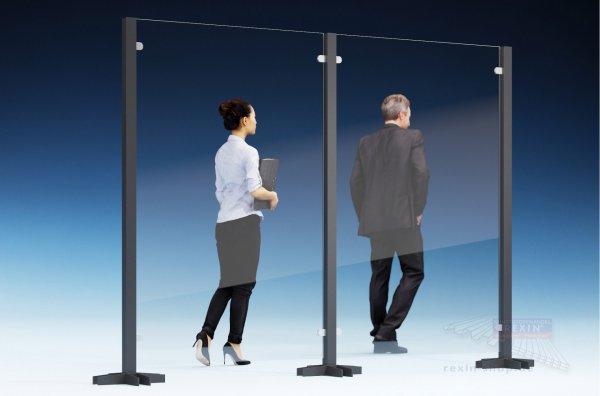 REXOcare Kunden-Trennwand 1,30m x 2m Bausatz (Erweiterungsset)