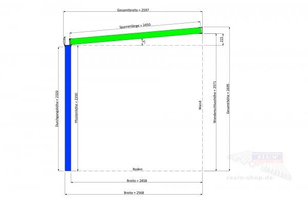 REXOpremium Alu Terrassendach 6m x 2,5m, VSG-Glas