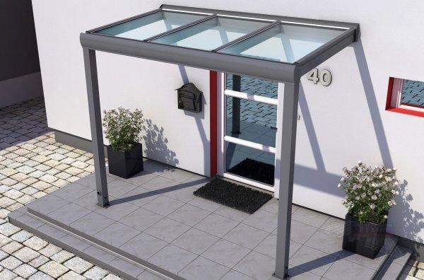 REXOvita VSG Haustür-Vordach: 3,00 x 1,00m, VSG-Glas