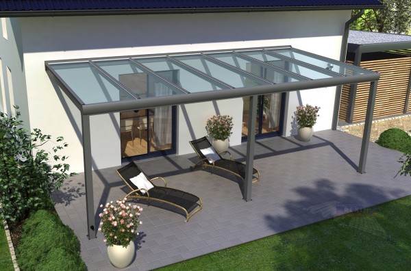 REXOpremium Alu Terrassendach 9m x 3,5m, VSG-Glas
