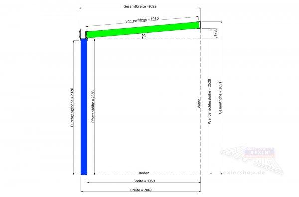 REXOpremium Alu Terrassendach 7m x 2m, VSG-Glas