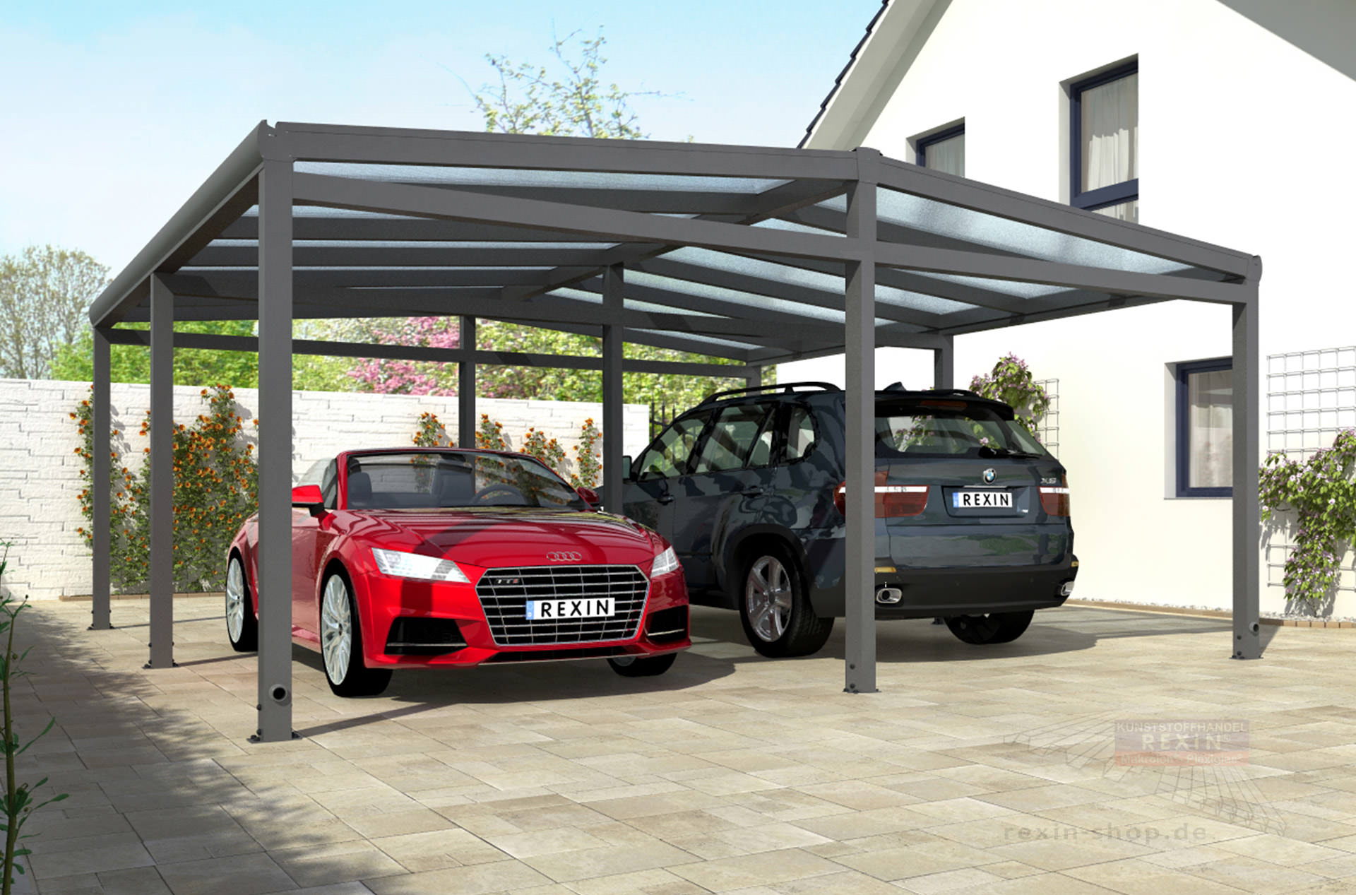 rexoport alu carport bausatz 3 13m x 6 06m alu carport bausatz 6x3m rexin shop. Black Bedroom Furniture Sets. Home Design Ideas