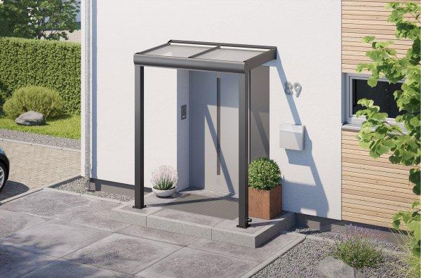 REXOvita Haustür-Vordach 2m x 1m mit 16mm Stegplatten