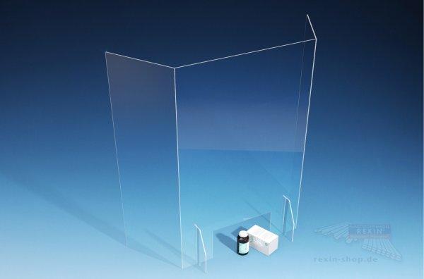 Spuckschild Niesschutz 90cm hoch, dreiseitig, für Apotheken Ärzte Einzelhandel