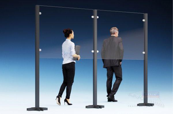 REXOcare Kunden-Trennwand halbhoch 1,30m x 2m Bausatz (Erweiterungsset)