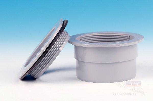 REXOdrop Kunststoff-Schraubstutzen, grau mit Dichtung