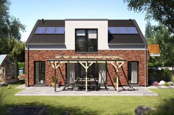 REXOmaster Holz Terrassenüberdachung VSG 4m x 3,5m