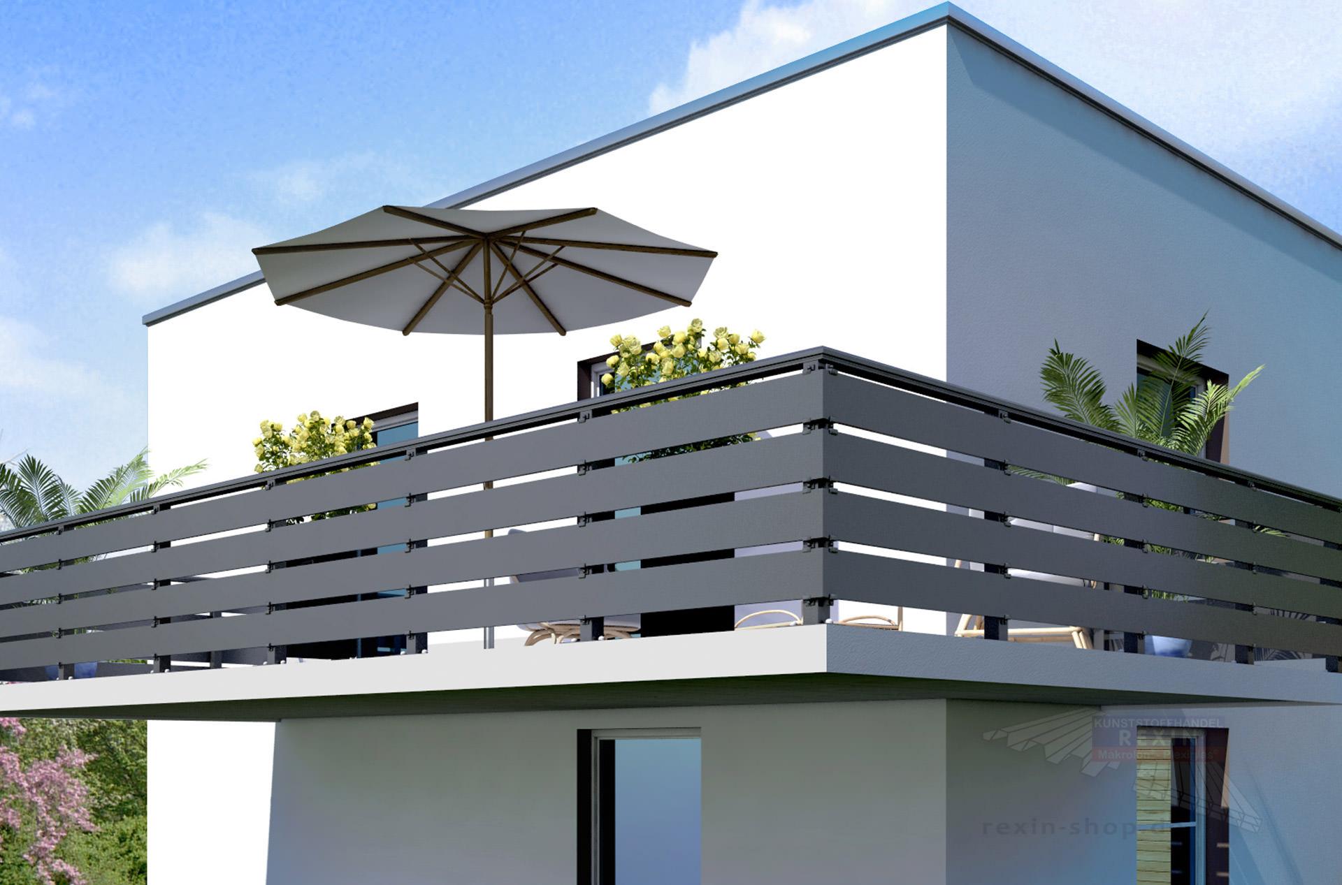 Sehr REXOboard Alu-Balkonbretter 150mm, anthrazit mit Struktureffekt PM36
