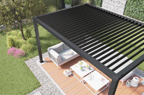 Lamellendach für REXOcube Pergola 4m x 3m, kurze Seite
