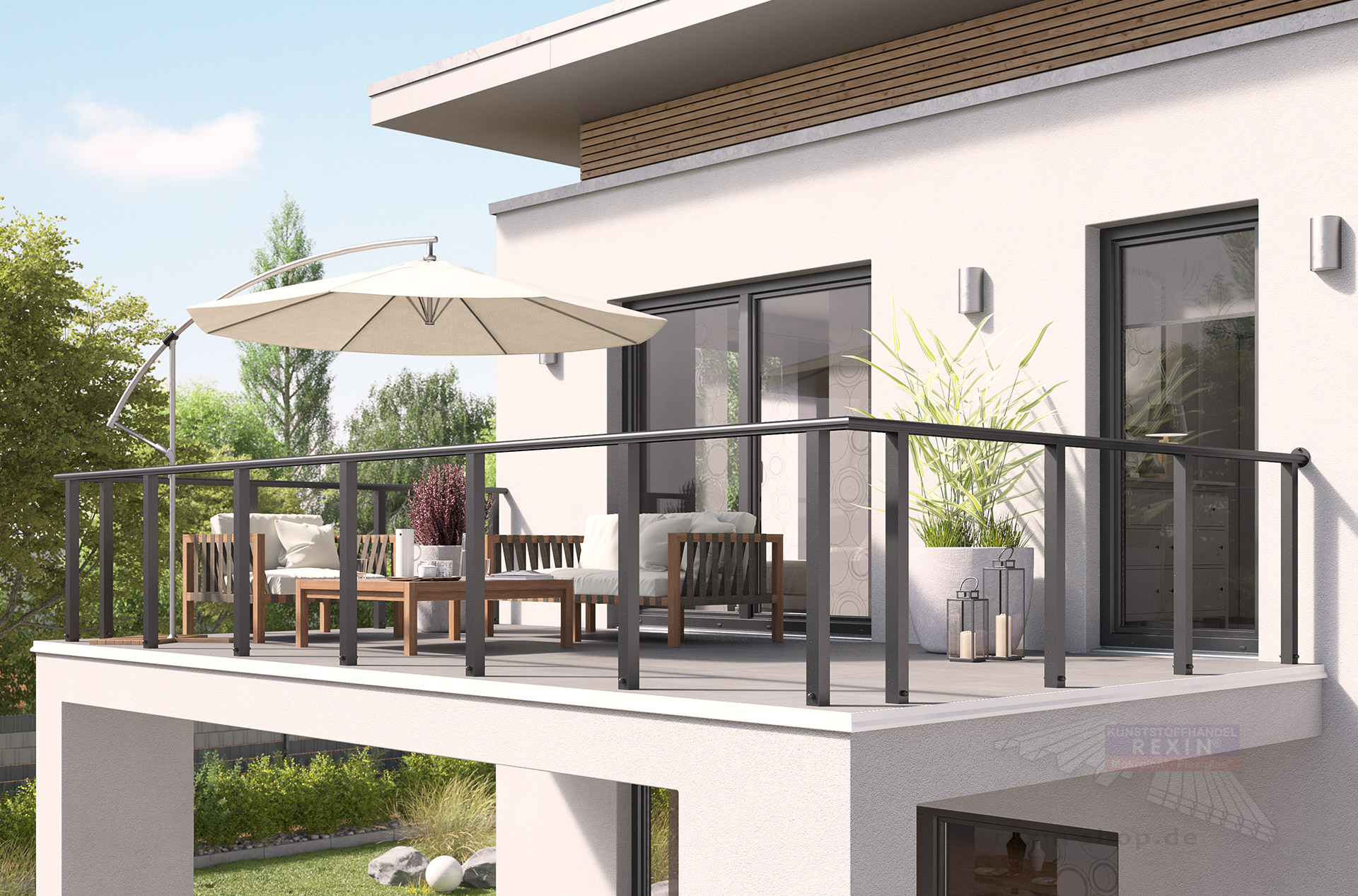 rexoguard alu balkongel nder 4m aufsatz konsole rexin shop. Black Bedroom Furniture Sets. Home Design Ideas