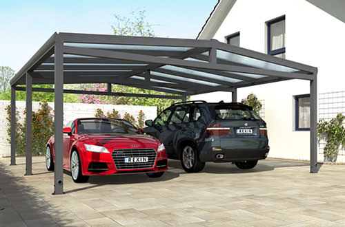 alu carports als einzelcarport und doppelcarport rexin shop. Black Bedroom Furniture Sets. Home Design Ideas