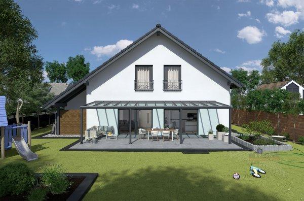 REXOpremium Alu Terrassendach 10m x 3,5m, VSG-Glas