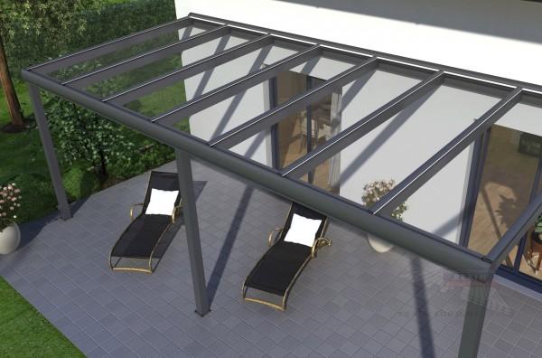 REXOpremium Titan Alu Terrassendach 5m x 3.50m, mit Massivplatten