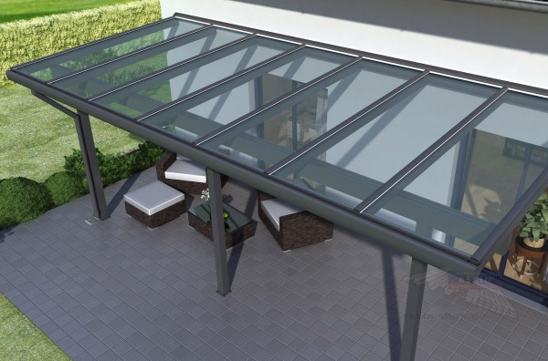REXOclassic Alu Terrassenüberdachung 10m x 3,50m, VSG-Glas
