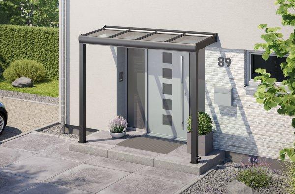 Alu-Haustürvordach REXOvita mit Massivplatten 3m x 1m