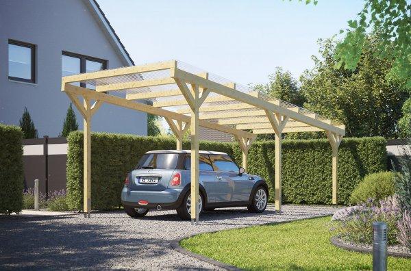 Holz-Carport REXOwood mit Wellplatten