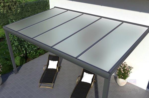 REXOpremium Alu Terrassendach 4m x 2,5m, VSG-Glas
