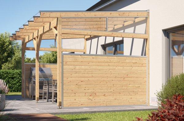 REXOcover Wood Terrassen-Seitenwand 1,50m Höhe