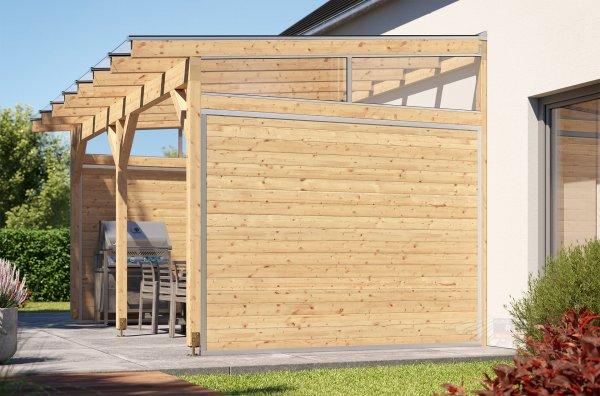 REXOcover Wood Terrassen-Seitenwand 2,10m Höhe