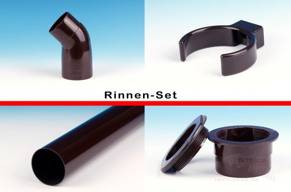 REXOdrop PVC-Rinnen-Set, braun