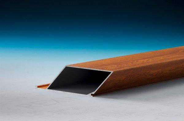 REXOpanel Alu Rhombusprofil 32mm, geschlossen, Holzdekor Golden Oak