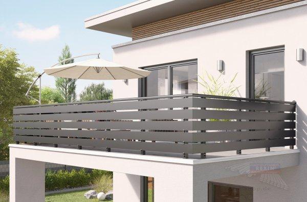 REXOguard Balkongeländer-Füllung, 6m, mit Alu-Balkonbrettern