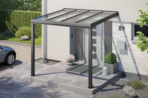 Alu-Haustürvordach REXOvita mit Massivplatten 3m x 2,5m