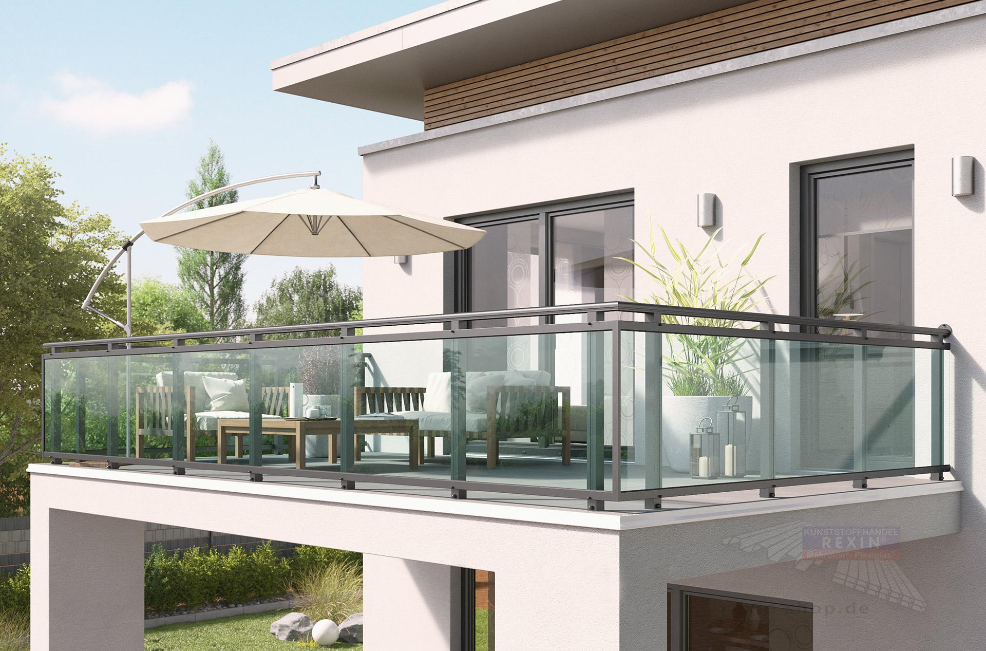 rexoguard balkongel nder f llung 2m mit vsg glas rexin shop. Black Bedroom Furniture Sets. Home Design Ideas