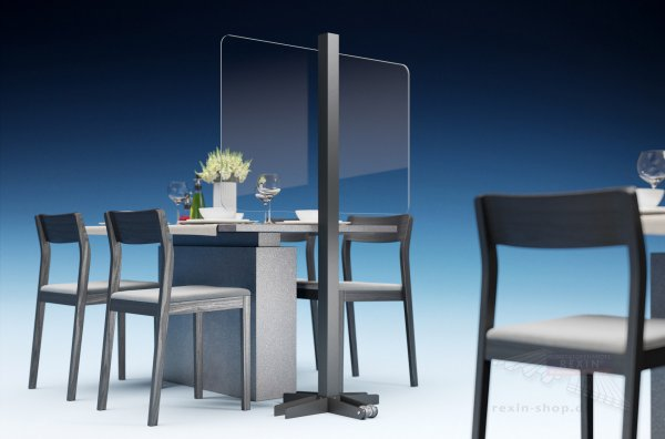 REXOcare mobiler Gastro Trennwand-Bausatz 1,20m x 1,5m