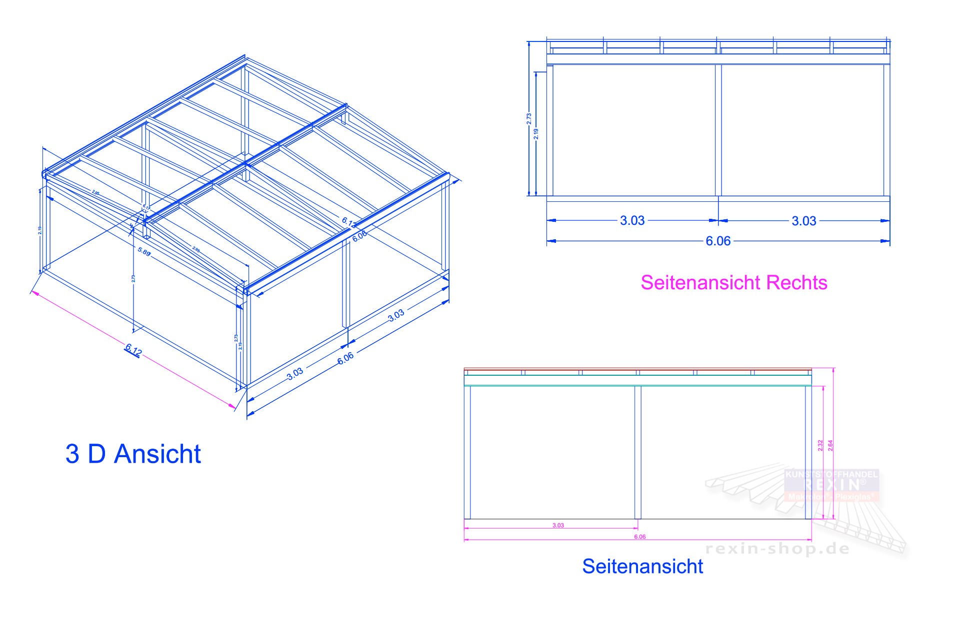 Rexoport Alu Carport Bausatz 6 13m X 6 06m Rexin Shop