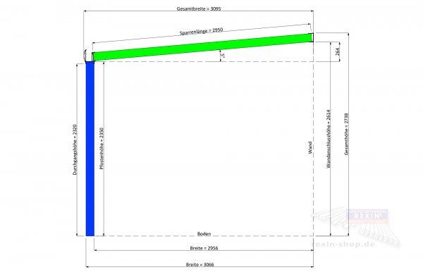 REXOpremium Alu Terrassendach 6m x 3m, VSG-Glas